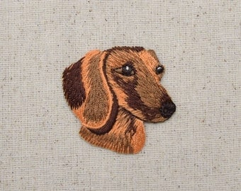 Dachshund - Head - Puppy Dog - Doxie - Embroidered Patch - Iron on Applique - 1138108-A