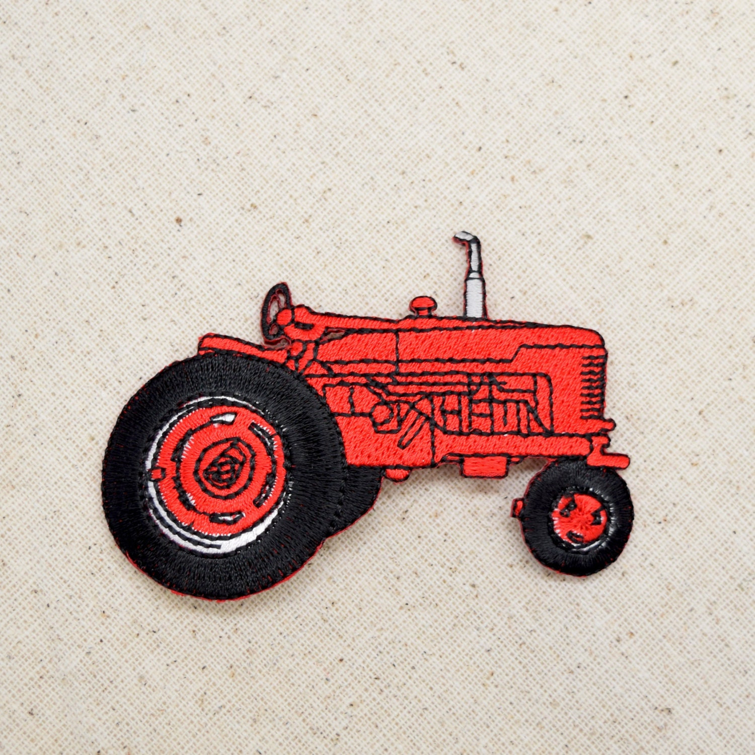 Embroidery Of Tractors : Red farm tractor embroidered patch iron on applique