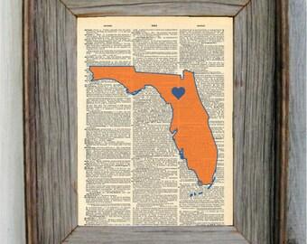 Florida Gators Print. Dictionary Art Print.