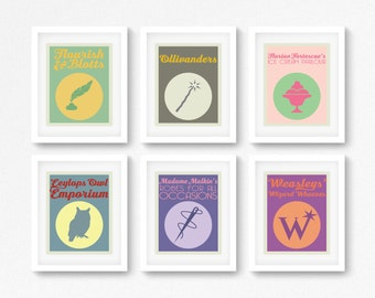 Diagon Alley Shops. Harry Potter. Ollivanders. Flourish & Blotts. Instant Download. Graphic Print. Minimalist. Design. Home Decor. Wall Art.