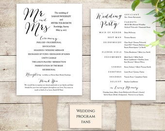 Fan Wedding Program instant download printable template. Paddle fan wedding program 5x7. Sweet Bomb. DIY Editable printable template