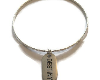 Destiny Charm Bracelet - Destiny Charm Bangle - Destiny Bracelet - Destiny Bangle - Inspirational Jewelry -Silver Jewelry - Stacking Bangles