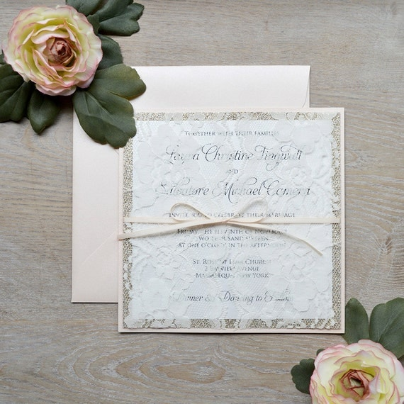 LAURA - Lace Doors Wedding Invitation - Blush & Gold Glitter with Ivory Lace and Pale Peach Ribbon - Couture Lace Invitation