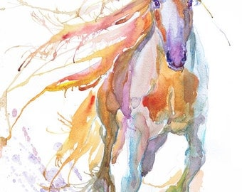Horse art,  abstract painting, equestrian decor, watercolor, gift for horse lover, watercolour, wild horse, animal art, art prints, equine