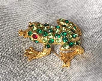 Vintage Rhinestone Frog Brooch