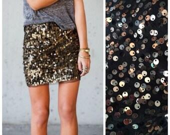 Black & Silver Sequin Mini Skirt