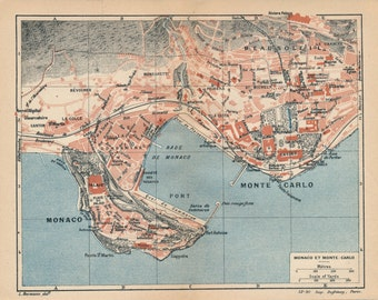 1923 Monaco & Monte Carlo Antique Map