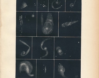 1911 Antique Astronomy Print, Nebulae