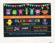 MONSTER Birthday Invitation. Monsters Party Invitation. Digital Custom Photo Invite. Chalkboard. Halloween Birthday Party. Monster Baby. MO1