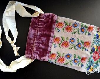 Antique Micro Bead Floral Purse Velvet Silk Top Pouch Reticule Edwardian Period 1800s