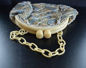 Vintage Art Deco Period Ivory Celluloid Frame Purse Floral Beaded Handbag Mid Century Fashion