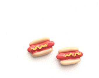 Hot Dog Earrings, Hot Dog Stud Earrings, Hot Dog with Mustard Earrings, Summer Hot Dog Earrings, Ball Park Food Earrings, Miniature Food