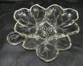 1960s Clear Glass Leaf Shaped Four Compartment Hors Douvres Plate  Small Tray