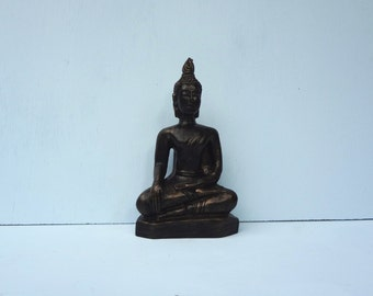 "Vintage 5.50"" Buddha Figure; Black and Copper; Meditation Space; Home Decor; FREE SHIPPING"