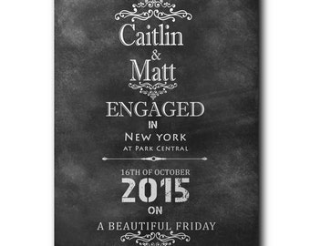 Engagement Gift, Personalized Engagement Print, Custom Engagement Print,Personalised gift