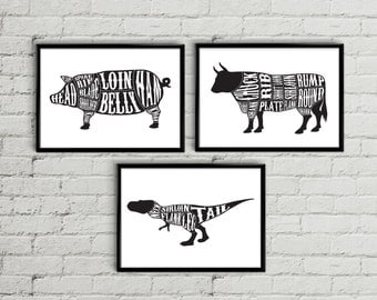 Butcher print, Butcher diagram, Butcher chart, Meat cuts print, Meat cuts poster, kitchen decor, kitchen art, Tyrannosaurus Rex, Dinosaur