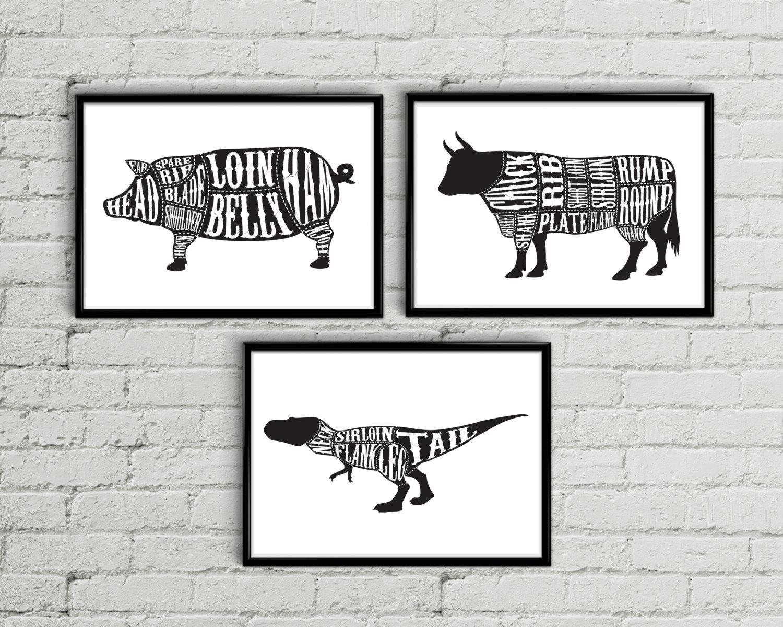 Butcher print Butcher diagram Butcher chart Meat cuts