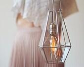 Industrial Hanging Pendant, Aisle Decor, Rustic Wedding Light, Glass Geometric Lighting, Stained Glass, Hanging Lights, Copper Wedding Decor