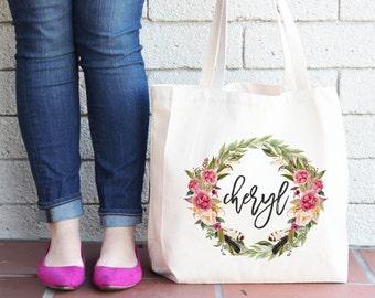 Personalized Tote Bag | Floral Tote Bag | White Tote Bag | personalised Tote Bag | Bridesmaid Tote Bag | Laurel Tote bag | Custom Tote bag