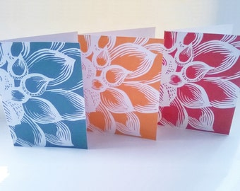 Dahlia linocut cards, 3 Greeting card set, Handmade greeting cards, Flower cards, Lino print cards, Set of 3 prints, fancy handmade cards