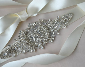 Rhinestone Wedding Dress Sash, Bridal Belt - ABRIELLE SASH