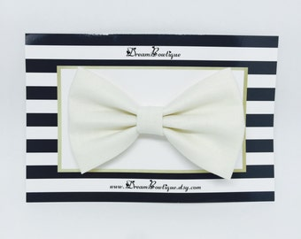 Cream White Hair Bow, Ivory White Hair Bow