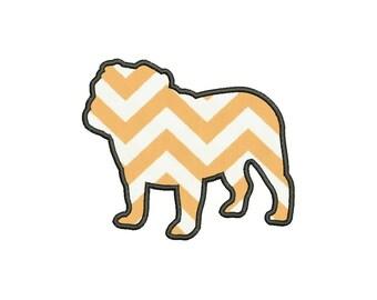 Silhouette Bulldog Applique Designs Machine Applique Embroidery Designs 5 Size - INSTANT DOWNLOAD