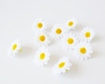 """ON SALE 10 Artificial Daisies Silk Flowers Little White Chamomile With Yellow Center Measuring 1.6"""" Floral Hair Accessories Flower Supplies"""