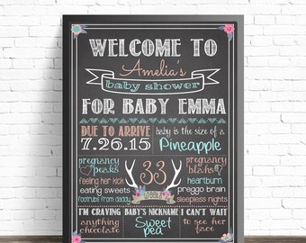 Baby Shower Chalkboard Sign // Boho Chic Baby Shower Decorations // Antlers and Flowers // Tribal Party Decor // Hippie Nursery // Boho Baby
