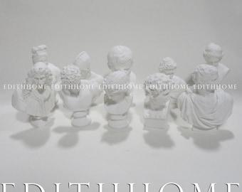 10 Pc Mini Figurines & Statue - Resin Sketch Plaster Statue [Set B] (David Bust,Venus,Agrippa), MyLittleHand, ( Free Shipping )