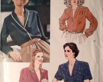 Vogue 7756 - 1990s Shawl Collar Blouse with Edge Trim Option - Size 14