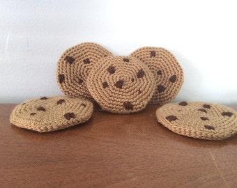 Crochet Chocolate Chip Cookie - Amigurumi Cookie Plush - Soft Play Food - Crocheted Cookies - Crochet Amigurumi - Tea Party - Plush Sweets