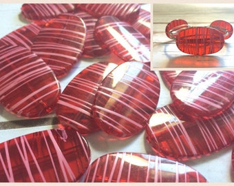 XL red Painted 45mm beads, red beads pink stripes, oval beads, large red beads, striped beads, acrylic red beads, red bracelet, red bangle