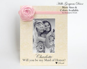 Maid of Honor Sister Proposal Gift Picture Frame Ask Will you be my Maid Matron of Honor Ask Proposal Bridesmaid Personalized Wedding Ideas
