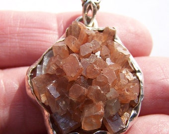 Argonite Crystal Cluster pendant with Sterling Silver 35x26mm