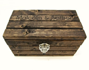 Made to Order: Personalized Memento Box with Lid, Small Wooden Storage Box with Nickel Latch, Engraved Rustic Wooden Gift Box, Keepsake Box