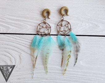 Pair Blue Dreamcatcher Tribal feathers gauges,long dangle,quartze size 4,5,6,8,10,12,14,16,18,20 mm,6g,2g,0g,00g,1/4,1/2,5/16,9/16,5/8,3/4