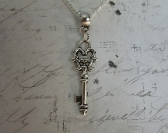 Silver Key Necklace - Skeleton Key Necklace - Key Jewelry