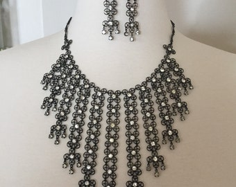 Fabulous Massive Gunmetal & clear Rhinestone Fringe BIB Necklace and Earrings
