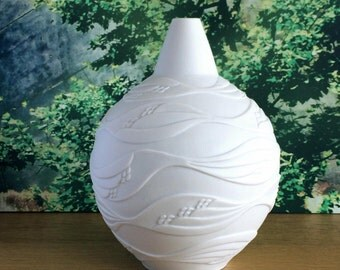 Waves! Maritime Relief Art Vase by Kaiser Germany White Matte Bisque Porcelain Mid Century 70s