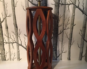 Mid Century Danish Teak Lamp Cutouts Sculptural