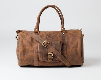 LEATHER DUFFLE BAG - Personalized Monogram Vintage style brown leather holdall duffel weekend bag carry on flight luggage gift