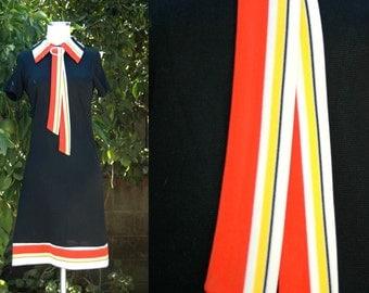 Black Retro Mod Mini Dress with Yellow, Orange & White Striped Collar, Scarf and Hem // 60s 70s Black Mini Dress