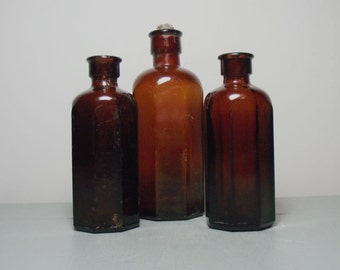 Set of 3 Milton Glass Bottles/Medicine Bottles/Brown Bottles/Dark Amber Bottles/Miltons Pharmaceuticals/Apothecary Bottles/Chemist Bottle