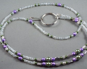 Beaded ID name tag badge holder lanyard necklace, select size, keychain or key card leash purple and green glass pearls, gift under 20 cute