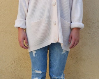 Vintage Chunky Light Pink Warm Oversized Buttonup Sweater