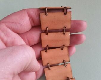 Vintage Peach Enamel and Copper Bracelet