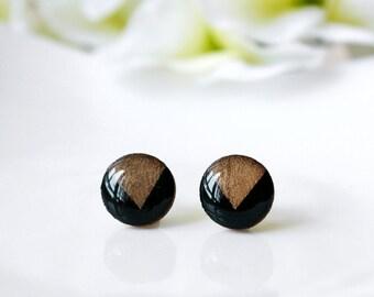 Modern / earring / gold black / Wooden Resin Stud, Simple Stud Earring, Cool Earrings, Mini Stud, Minimalist earring, Gold Foil earrings