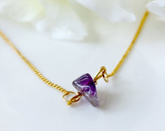 Stone / necklace / purple / Gift for her, Gemstone Necklace, Crystal Necklace, Simple Necklace, Cute Necklace, Raw Quartz Necklace