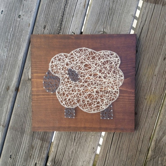 Made to order string art sheep sign for Art sites like etsy